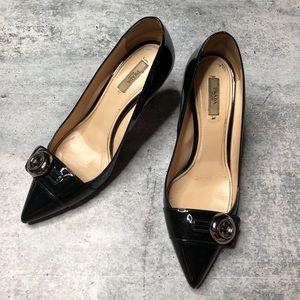 Prada Black Patent Leather Heel Button Pump